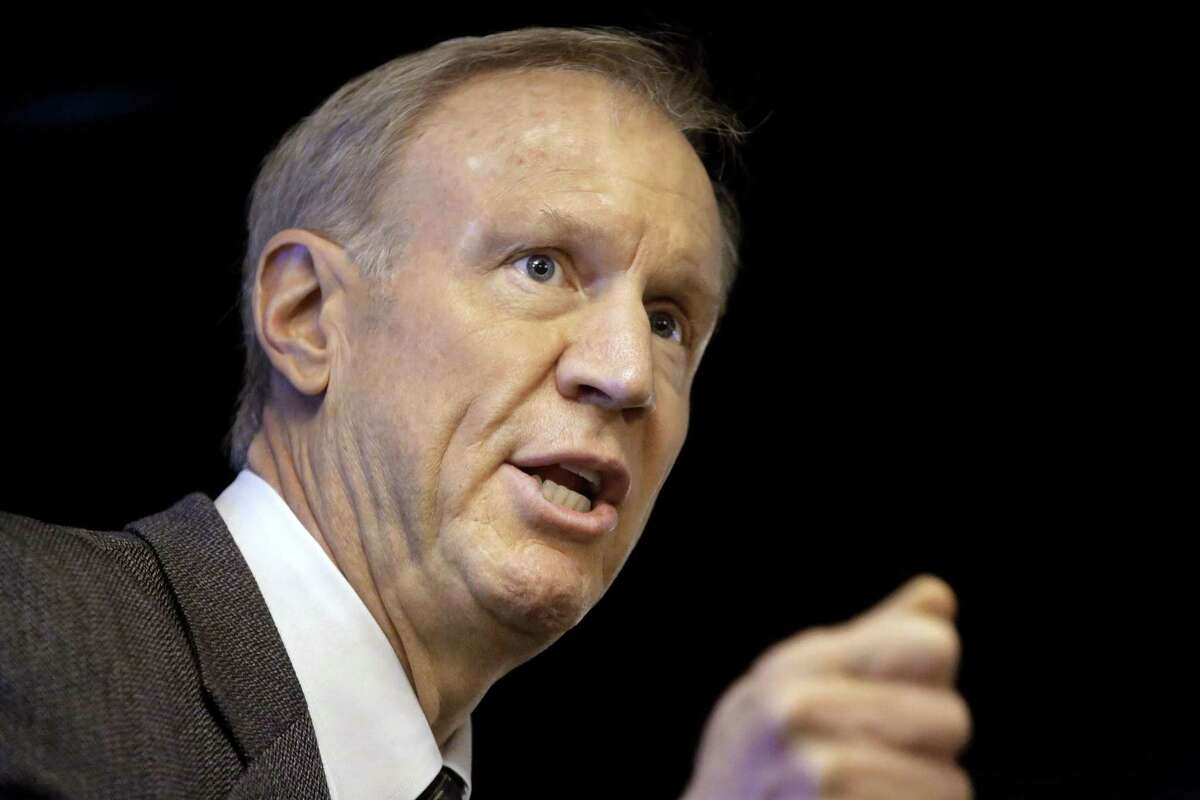 In this March file photo, Illinois Gov. Bruce Rauner speaks at an event in Springfield, Ill.