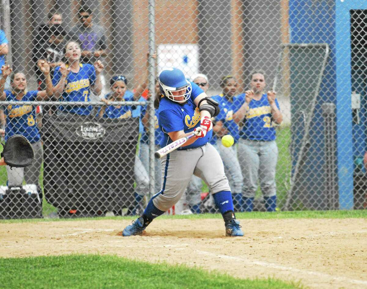 Photo by Jimmy Zanor - Middletown Press H-K senior Casey Jackson had two RBI's in the Cougars 5-3 win over North Branford.