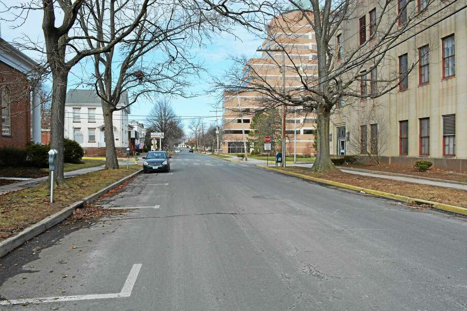 A view of Broad Street in Middletown, near where a high-rise is being considered, with Middlesex Mutual and the former SNET building off in the distance. Photo: File Photo