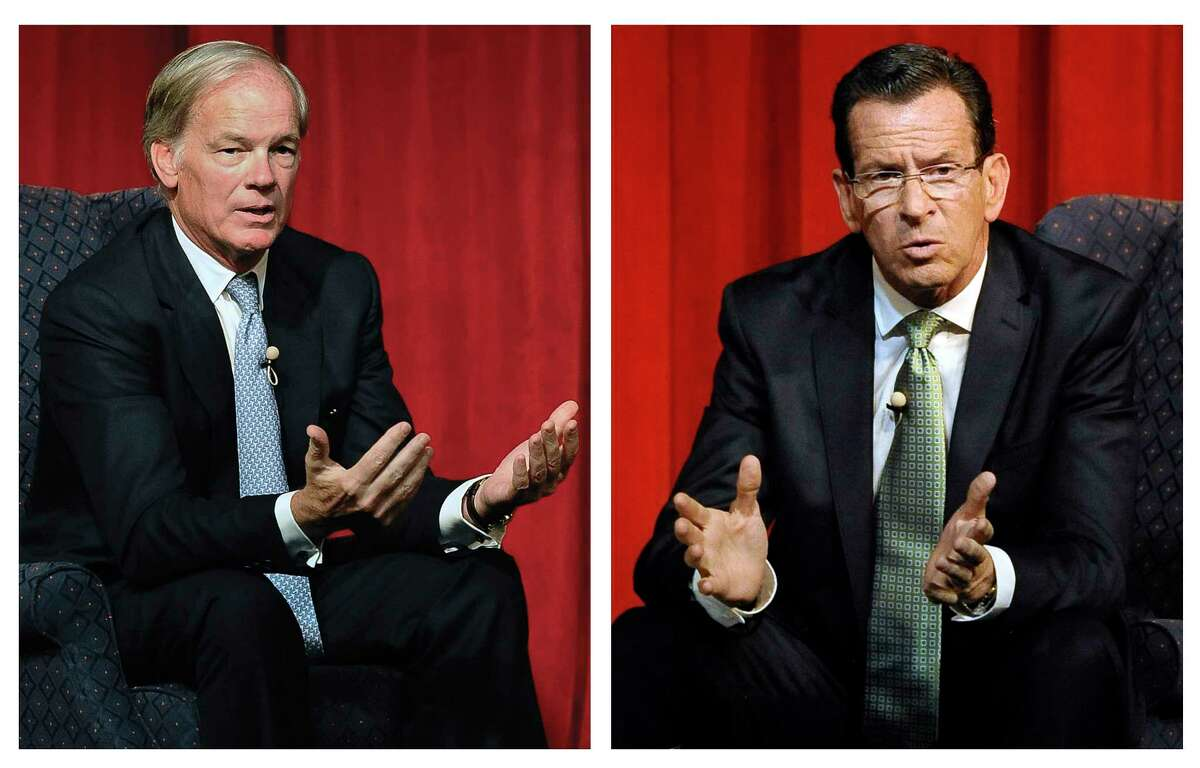 FILE - In these Aug. 27, 2014 file photos, Republican candidate for governor Tom Foley, left, and incumbent Democrat Gov. Dannel P. Malloy, right, deliver their closing remarks at the conclusion of a debate in Norwich, Conn.