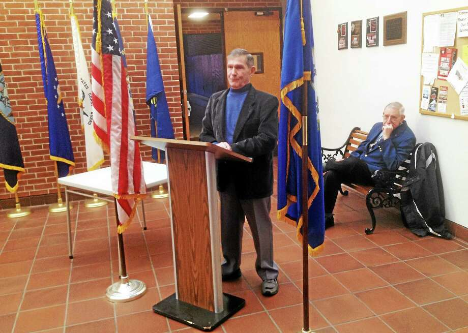 The Knights of Columbus-DeSoto Council No. 6 of Cromwell held a ceremony this week, honoring Al Waters as Man of the Year. Photo: Jeff Mill — The Middletown Press