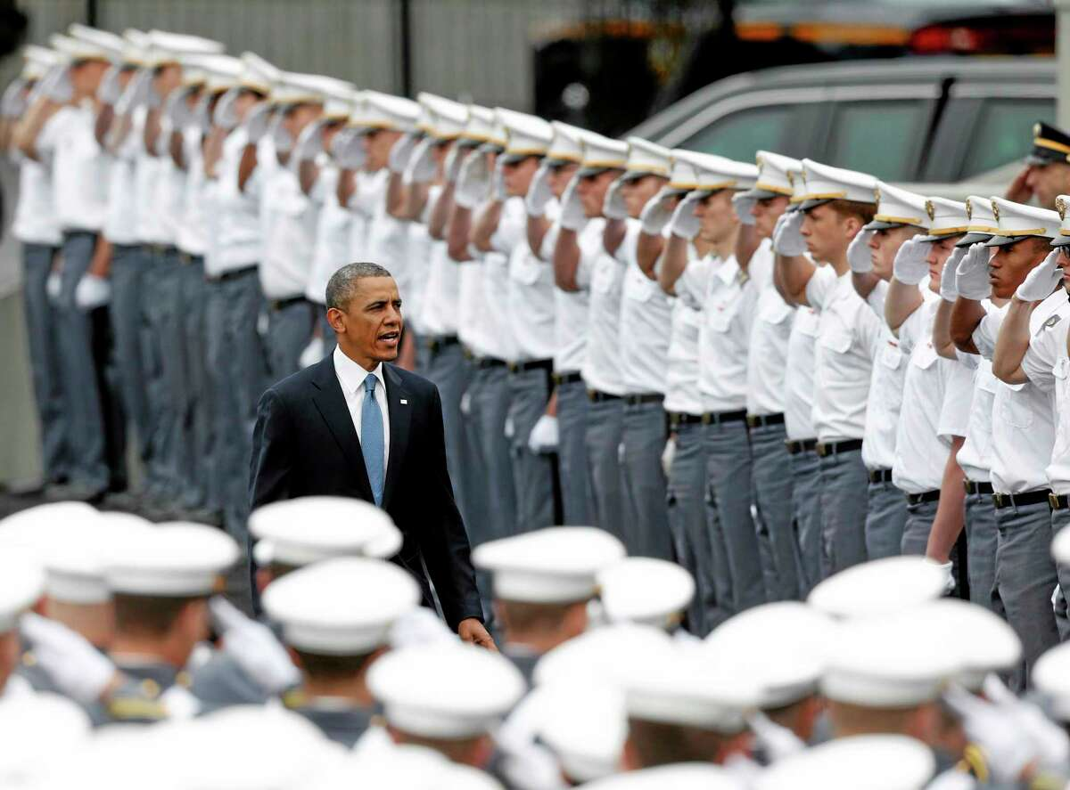 President Barack Obama arrives to a graduation and commissioning ceremony at the U.S. Military Academy on Wednesday, May 28, 2014, in West Point, N.Y. In a broad defense of his foreign policy, the president declared that the U.S. remains the world's most indispensable nation, even after a