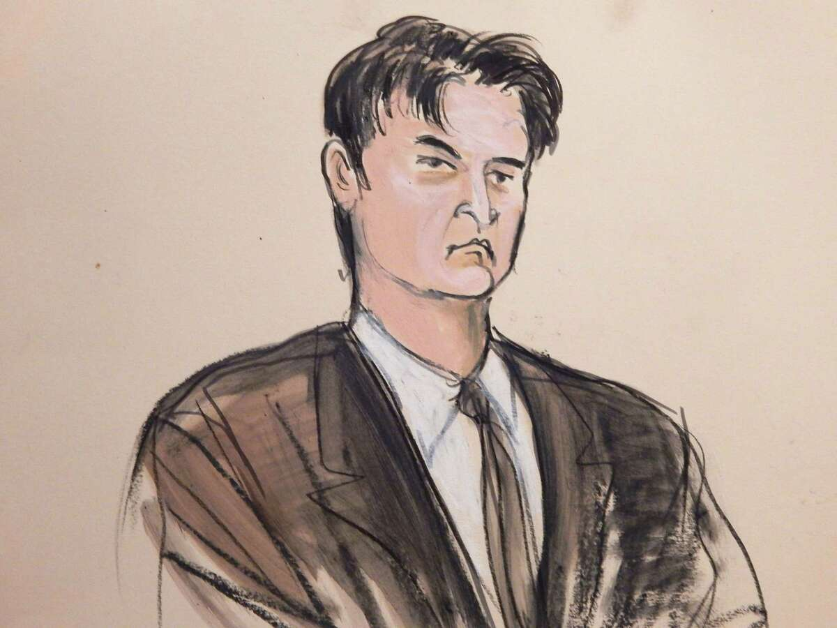 FILE - This Feb 4, 2015, file courtroom sketch, shows defendant Ross William Ulbricht as the deputy recites the word ìguiltyî multiple times during Ubrichtís trial in New York. Ulbricht is set to be sentenced Friday, May 29, 2015, after his February Manhattan federal court conviction. (AP Photo/Elizabeth Williams, File)