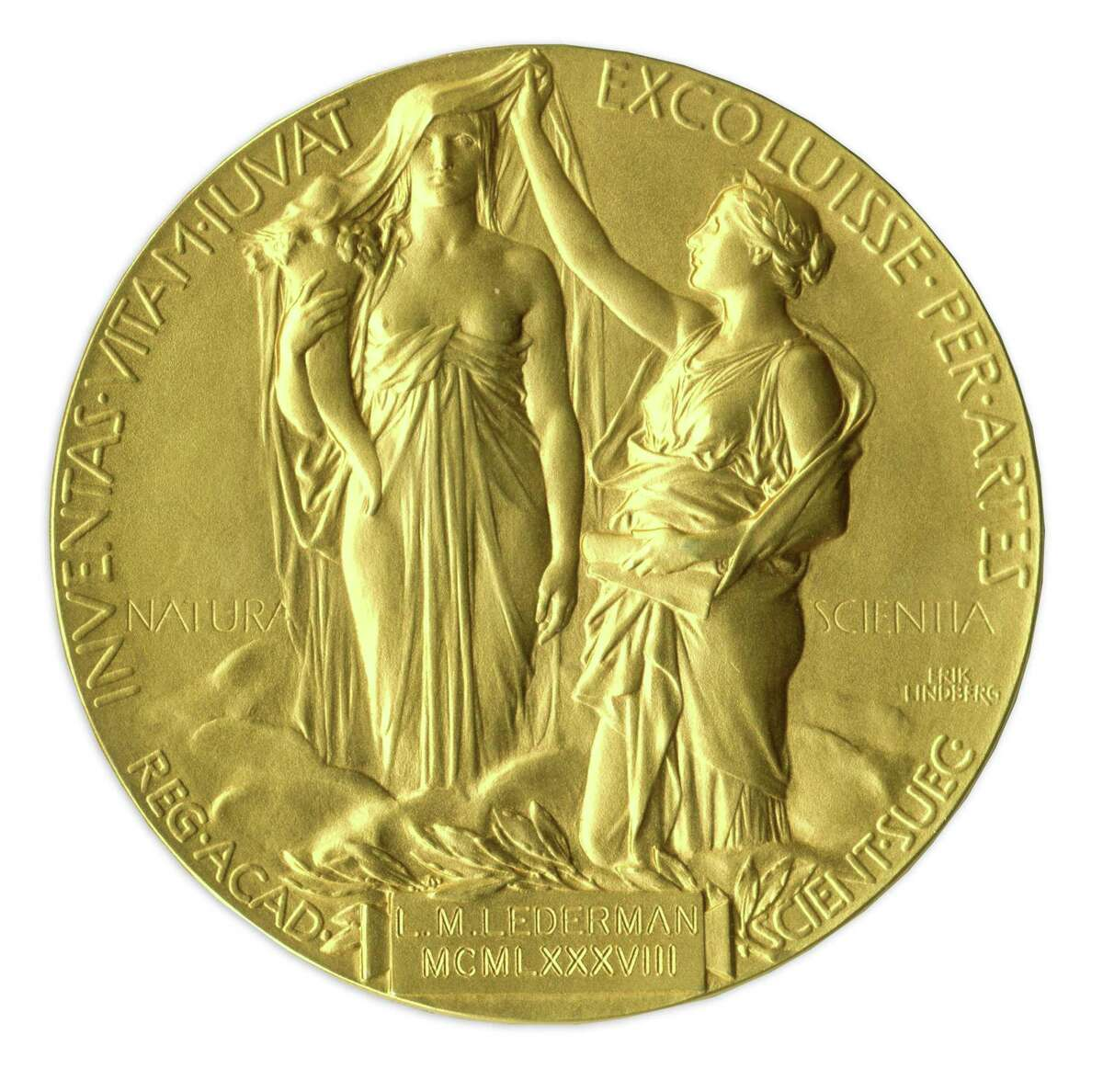 This undated image provided by Nate D. Sanders Auctions, shows the reverse of the 1988 Nobel Prize in Physics awarded to Dr. Leon Lederman. The award put up for auction by the retired experimental physicist has sold for $765,002 USD. The online auction went into overtime Thursday, May 28, 2015, until a final bid went unchallenged for half an hour. Nate D. Sanders Auctions spokesman Sam Heller says the final amount is the fourth-highest ever paid among the 10 Nobel Prizes that have been sold at auction. The 92-year-old has said he decided to sell the prize because it has just been sitting on a shelf. (Amanda Hart, Nate D. Sanders Auctions via AP)