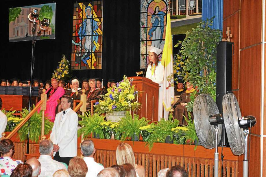 Mercy High School salutatorian Allison Wojciechowski delivers her address Thursday night at commencement ceremonies. Photo: Brian Zahn — The Middletown Press