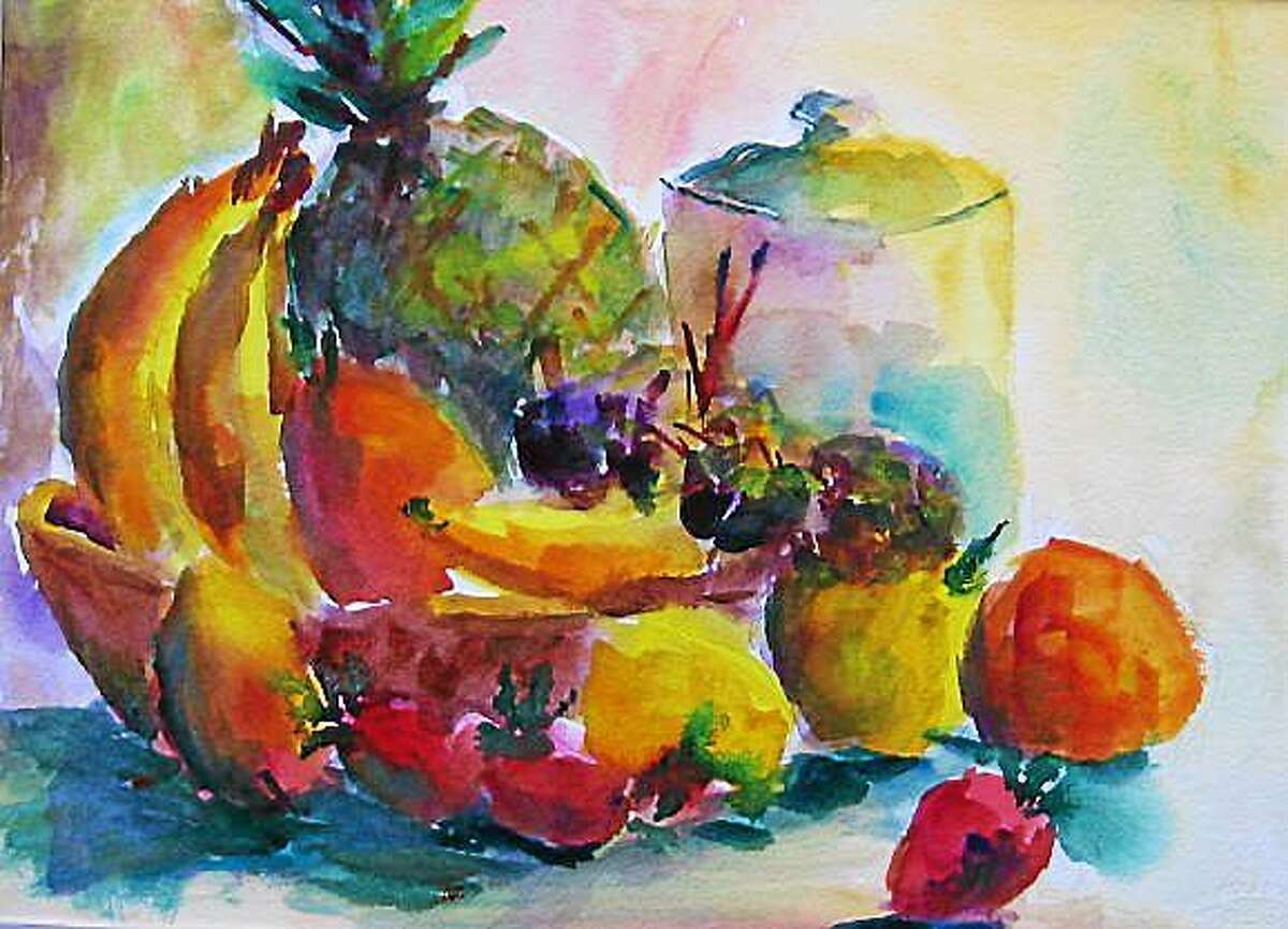 """An art exhibit will be held at the Essex Library, 33 West Avenue, through the month of February, 2015, featuring guest artist, Lesley Braren. Above, """"Kitchen Fruit."""""""