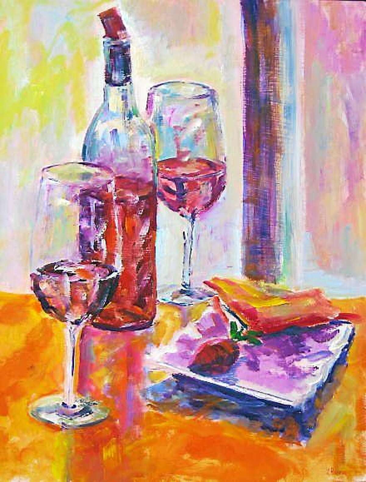 """Contributed photos An art exhibit will be held at the Essex Library, 33 West Avenue, through the month of February, 2015, featuring guest artist, Lesley Braren. Above, """"Wine at Nine."""""""