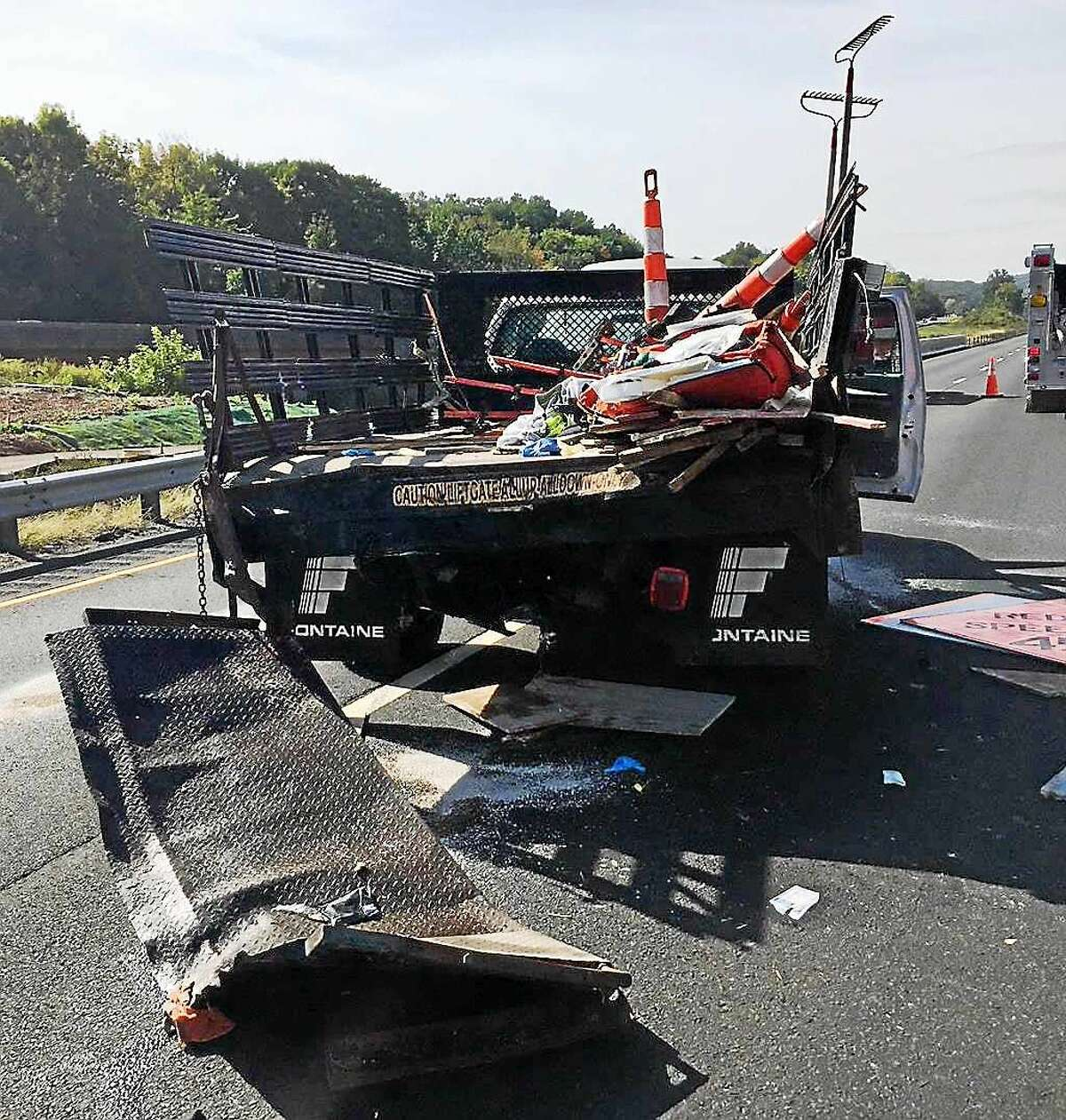 (Photo courtesy of the Connecticut State Police) A crash involving a tractor-trailer and two other vehicles blocked part of Interstate 91 southbound near Exit 20 in Middletown late Monday morning. One of the vehicles involved was reported to be a state Department of Trasnportation construction truck.