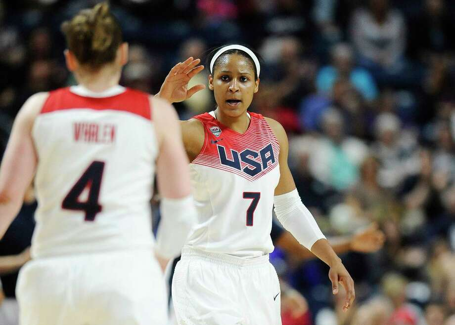 Maya Moore, shown here in a game against Canada in September, helped lead the U.S. past Serbia at the World Championship for Women on Sunday. Photo: The Associated Press File Photo  / FR125654 AP