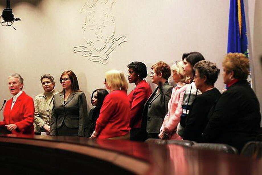 Bipartisan female legislators. Photo: Photo By Hugh McQuaid