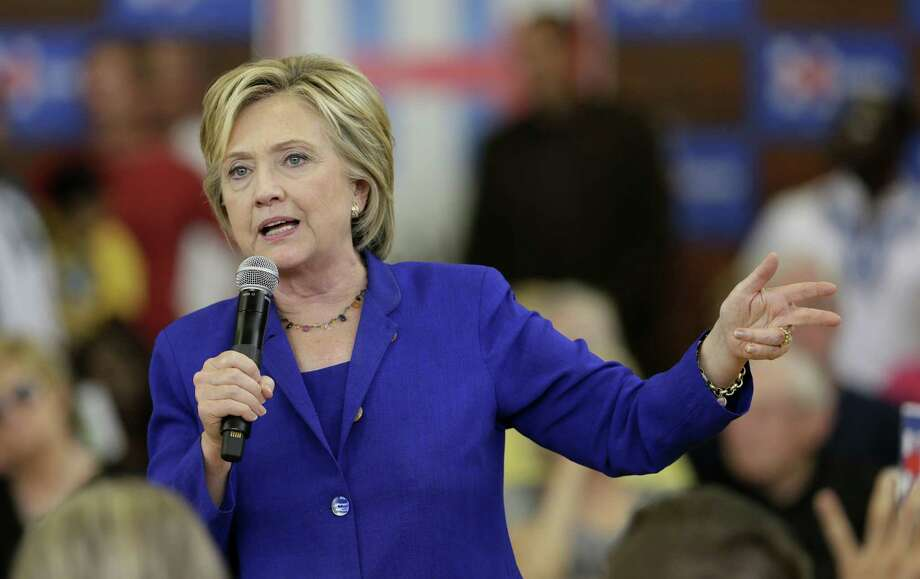 In this Sept. 22, 2015 photo, Democratic presidential candidate Hillary Rodham Clinton speaks during a community forum on healthcare, at Moulton Elementary School in Des Moines, Iowa. Photo: AP Photo/Charlie Neibergall, File  / AP