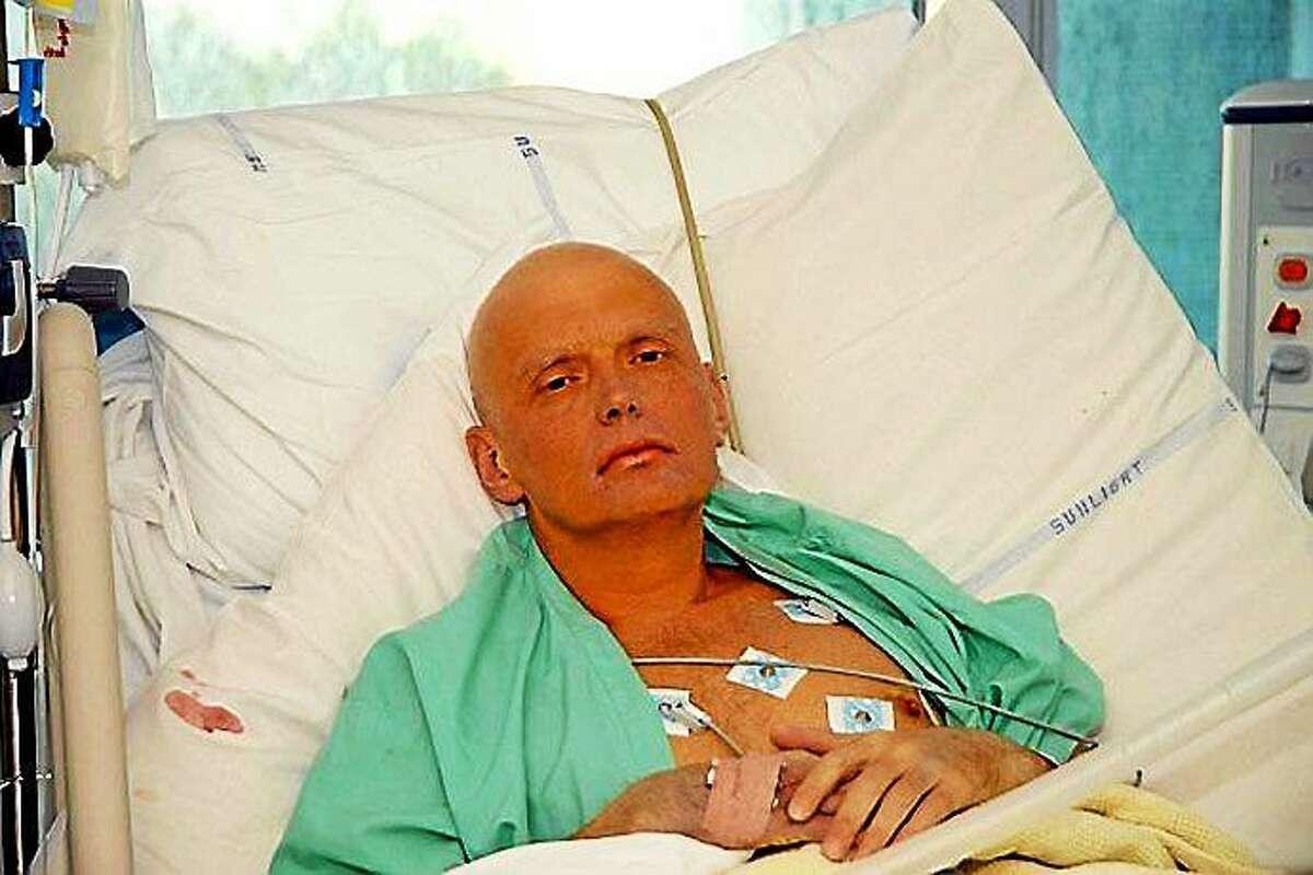 Alexander Litvinenko in the hospital after being poisoned.