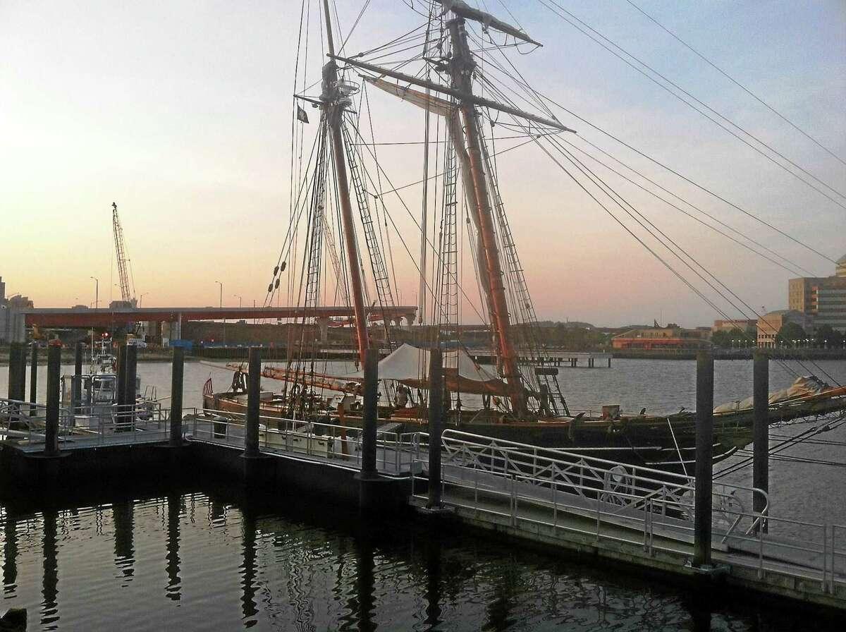 (Helen Bennett - New Haven Register) Schonner Amistad in port in New Haven