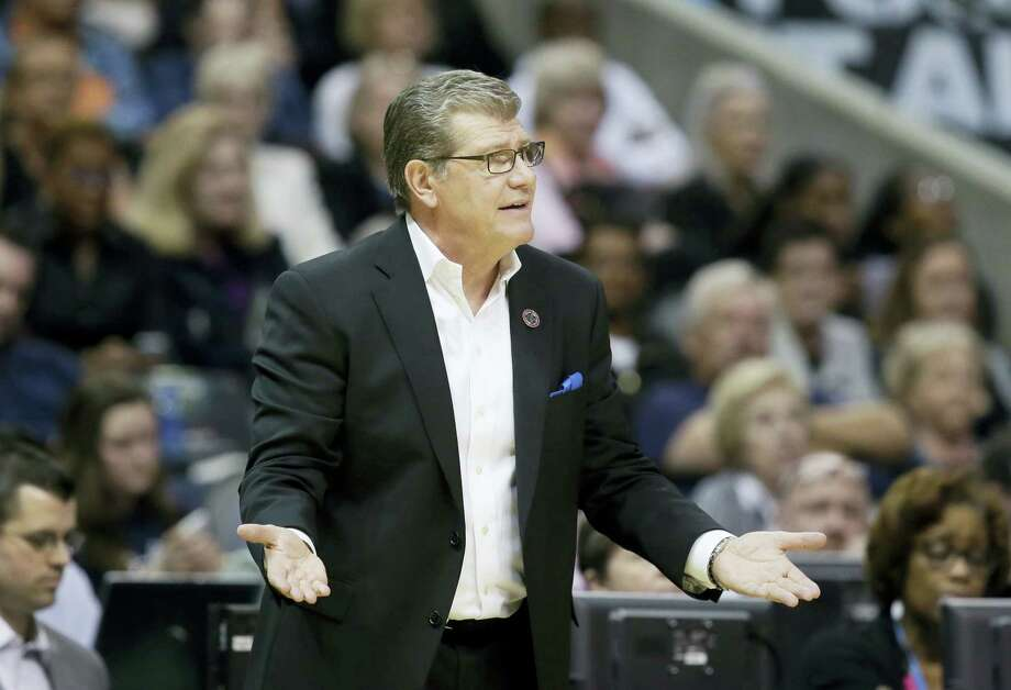In this March 31, 2017, file photo, Connecticut head coach Geno Auriemma questions a call during the second half of an NCAA college basketball game against Mississippi State during an NCAA college basketball game in the semifinals of the women's Final Four  in Dallas.  The University of Connecticut women's basketball team is off on a 10-day tour of Italy. The Huskies will play exhibition games in Rome, Florence, Trieste and Venice. Photo: AP Photo/LM Otero / Copyright 2017 The Associated Press. All rights reserved.