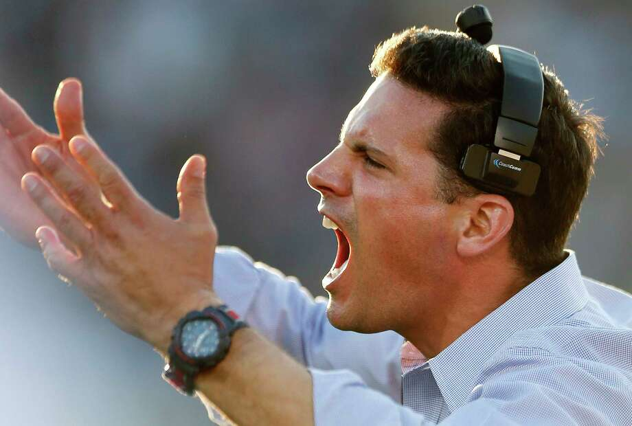 UConn coach Bob Diaco yells from the sidelines during the third quarter of Saturday's loss to Temple at Rentschler Field. Photo: Michael Dwyer — The Associated Press  / AP