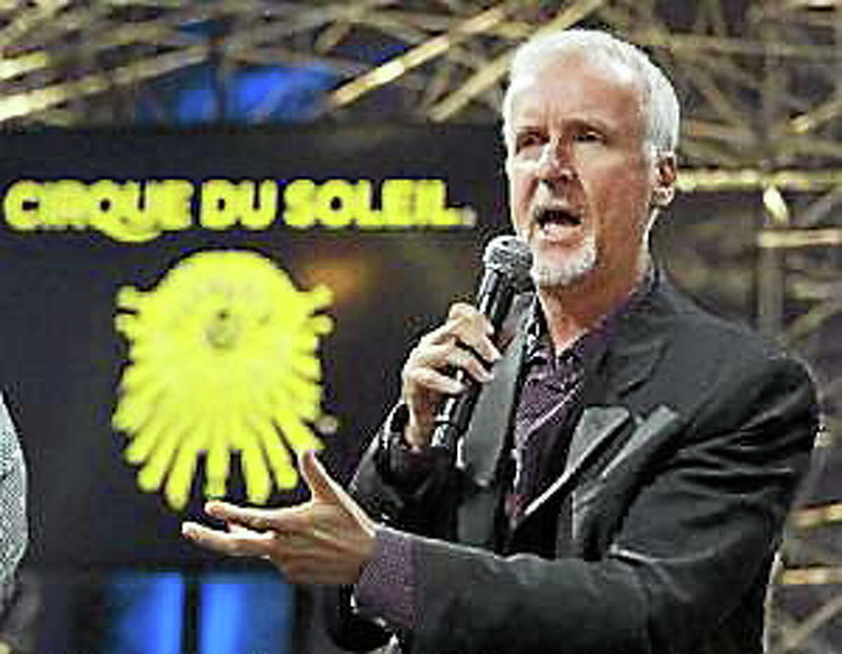 """Director James Cameron speaks at a news conference announcing a new show by Cirque du Soleil based on his movie """"Avatar"""" on May 29, 2014, in Montreal."""