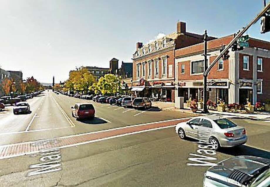The decorative brick crosswalk on Main Street and Route 66 will be repaired on Friday. Photo: Google Earth
