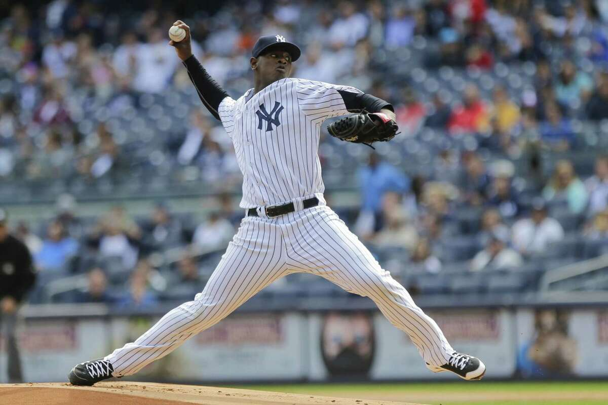 Luis Severino delivers a pitch during the first inning of Sunday's game against the Chicago White Sox.