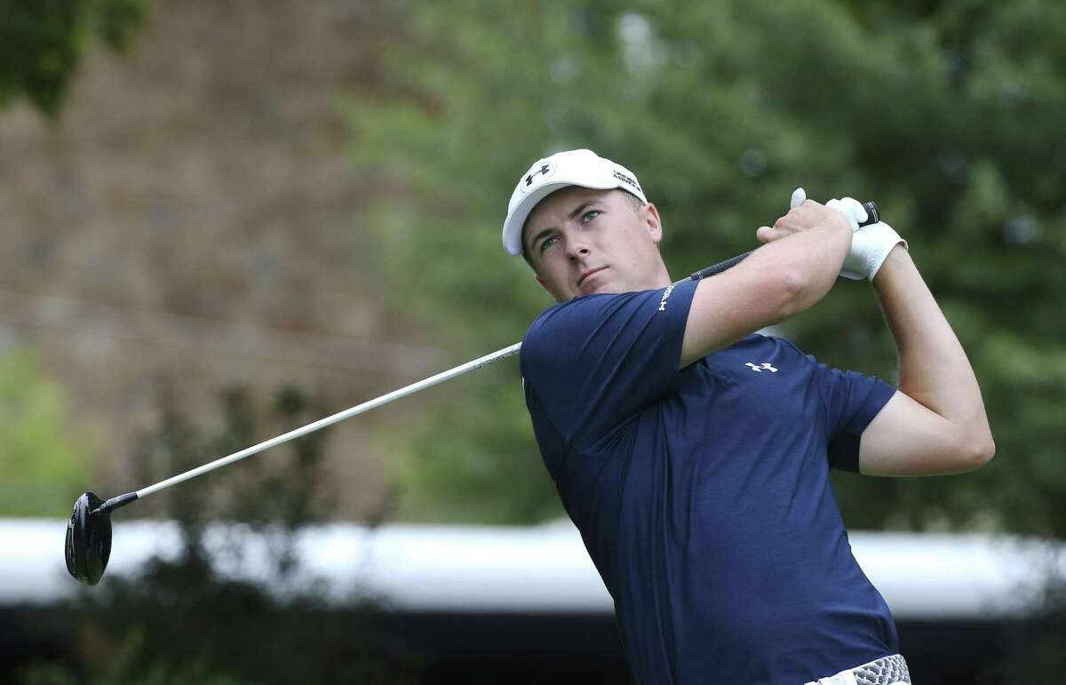 Jordan Spieth tees off on the fourth hole in the final round of the Tour Championship Sunday.