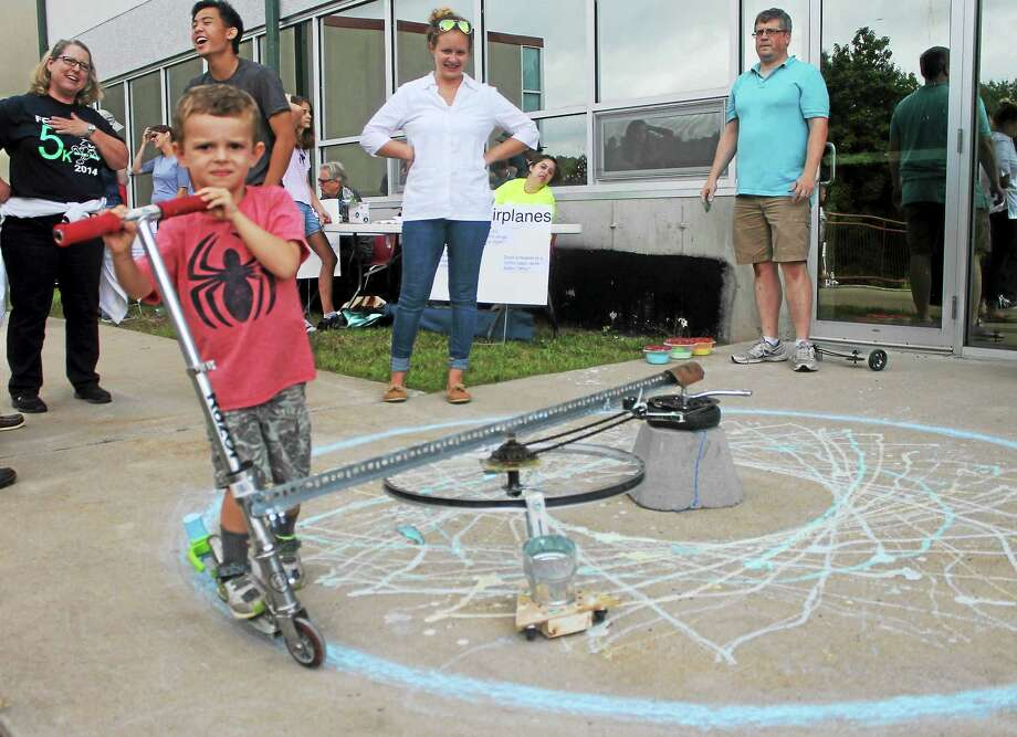 Independent Day School students, staff and parents collaborated on a giant spirograph recently which will be on view at the Mini Maker Faire at Tunxis Community College in Farmington. Photo: Courtesy Photo