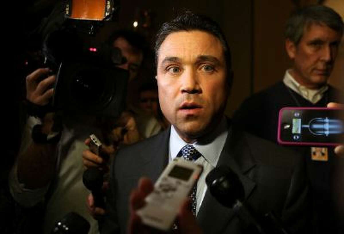 Rep. Michael Grimm, R-N.Y., threatened to throw a reporter off a balcony Tuesday.