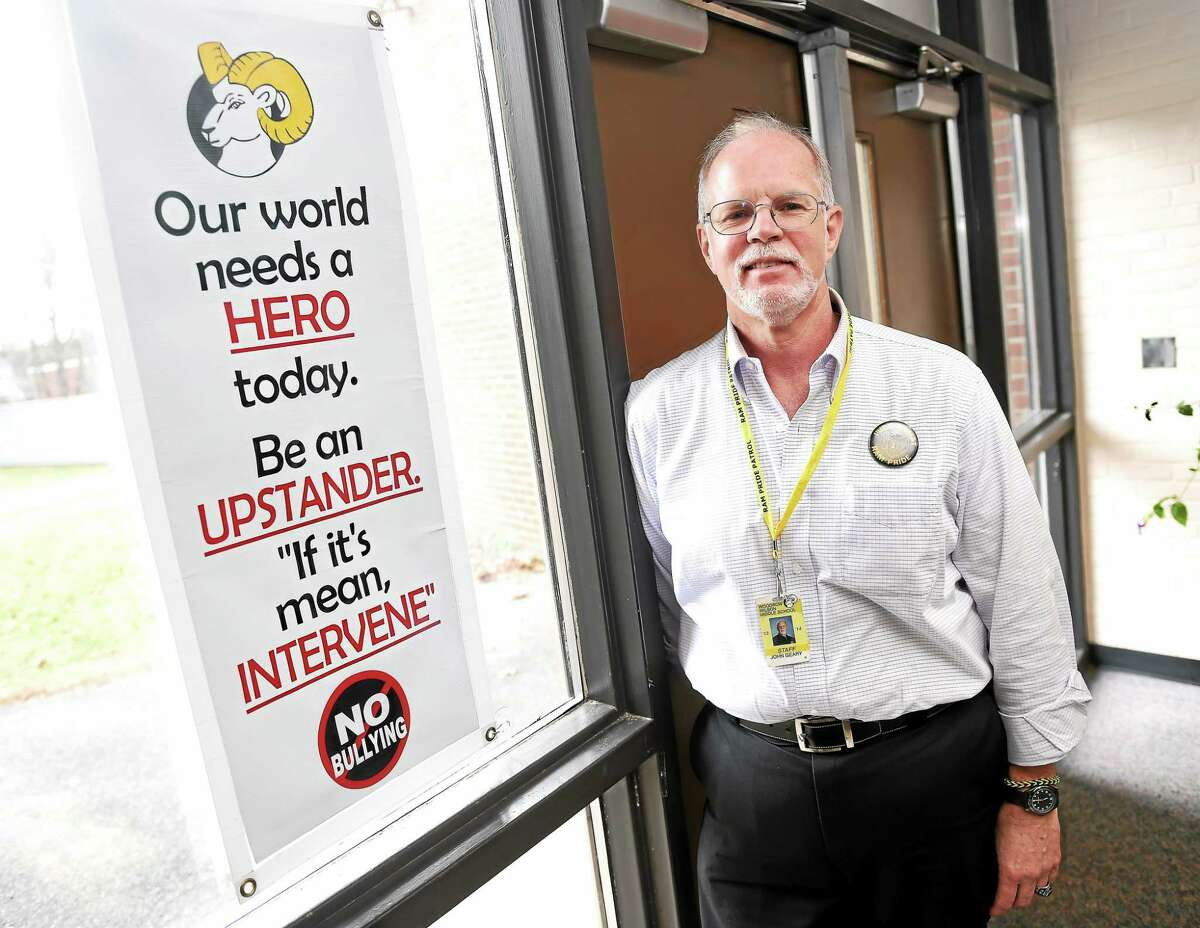 Woodrow Wilson Middle School Pride Patrol founder John Geary was chosen as the Middletown Press' Person of the Year in 2014 for his efforts to combat bullying among students.