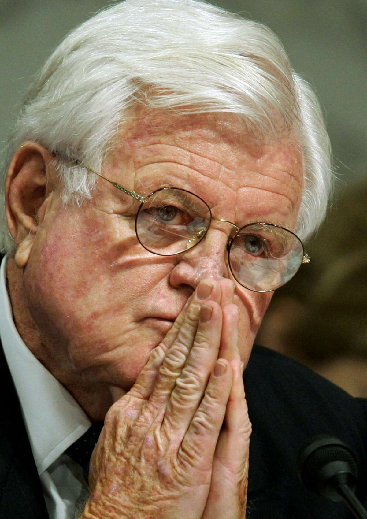 In this Sept. 15, 2005 photo, Sen. Edward Kennedy, D-Mass., a member of the Senate Judiciary Committee member, listens intently during a confirmation hearing, in Washington.