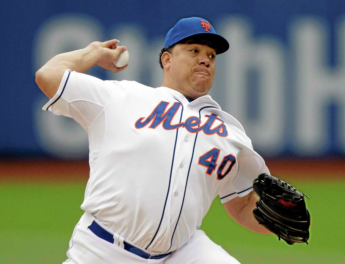 Mets starter Bartolo Colon delivers a pitch during the first inning of New York's 5-0 victory over the visiting Pittsburgh Pirates on Wednesday at Citi Field.