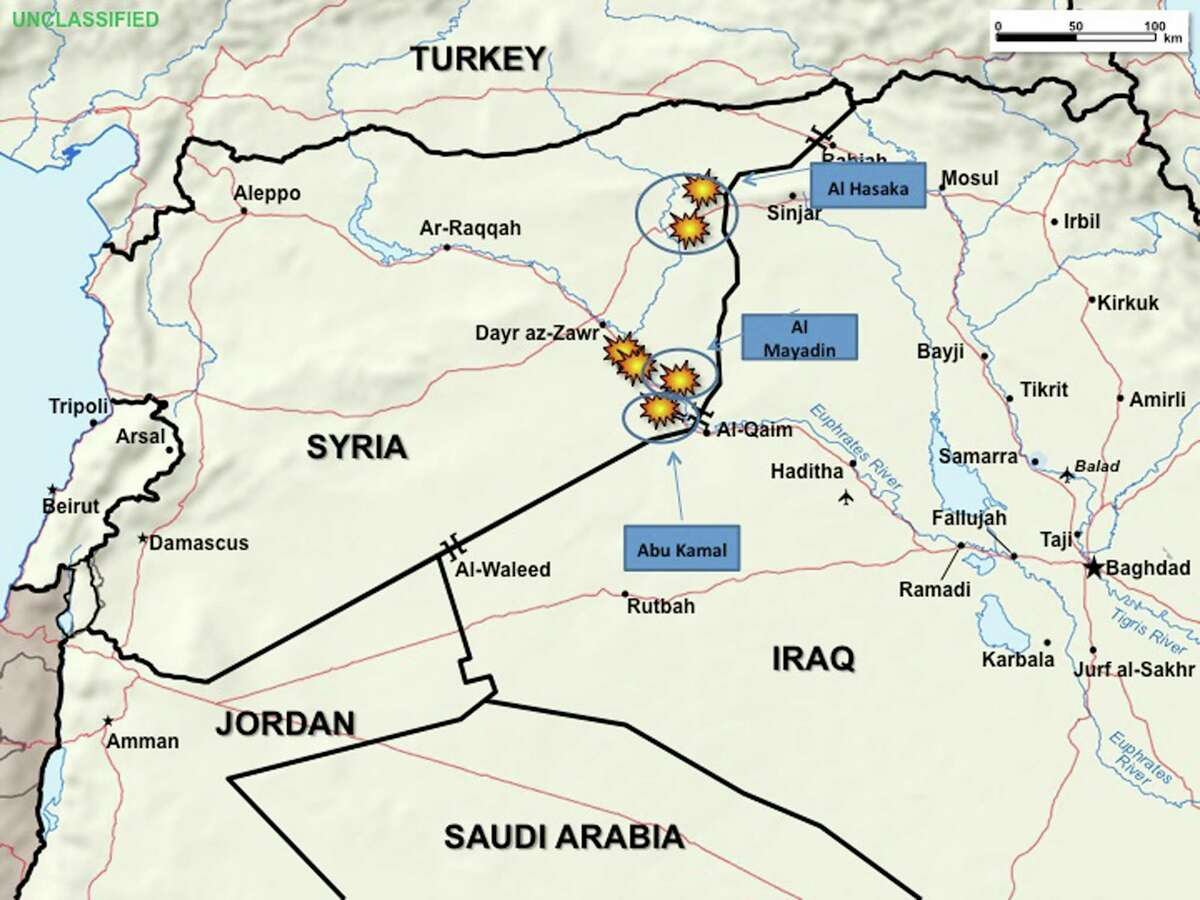 This graphic, provided by the Pentagon, used during a Pentagon briefing Thursday, Sept. 25, 2014, shows allied airstrikes in Syria. (AP Photo/DoD)