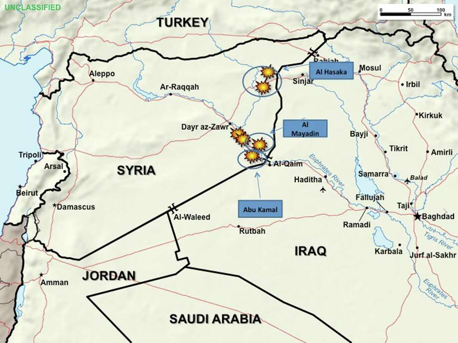 This graphic, provided by the Pentagon, used during a Pentagon briefing Thursday, Sept. 25, 2014, shows allied airstrikes in Syria. (AP Photo/DoD) Photo: AP / Defense Department