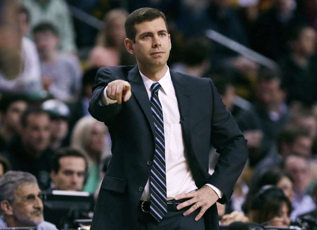 Celtics head coach Brad Stevens calls to his players during the first quarter of a first-round basketball game against the Cleveland Cavaliers in Boston last month.