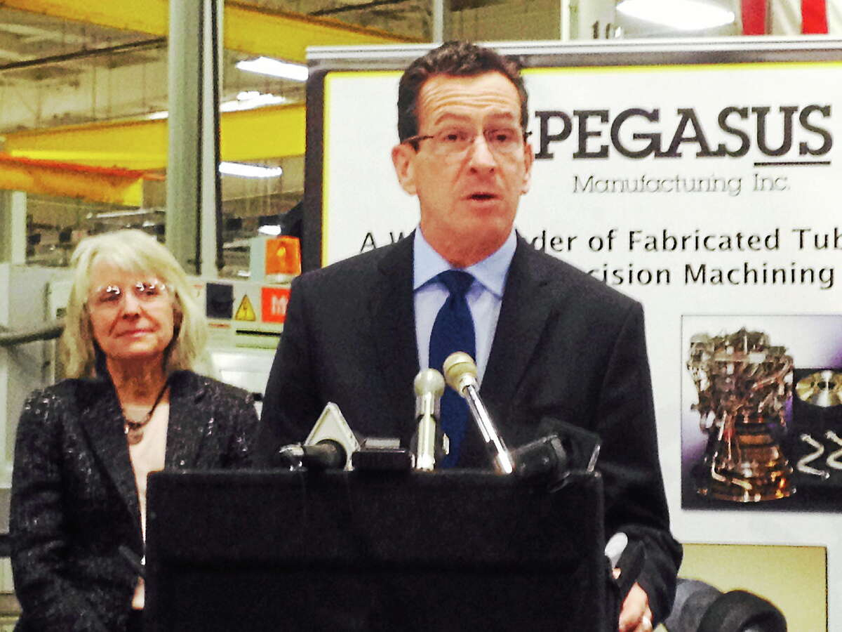 Gov. Dannel P. Malloy speaks on the unveiling of a new Advanced Manufacturing Fund to assist state manufacturers at the Pegasus Manufacturing facility Wednesday in Middletown.