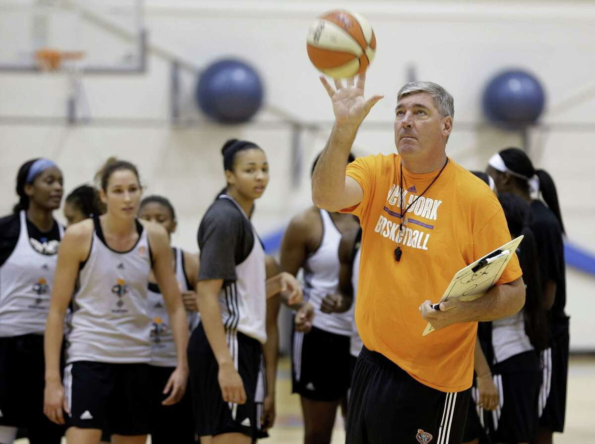New York Liberty head coach Bill Laimbeer catches a ball during practice last week in Tarrytown, N.Y.