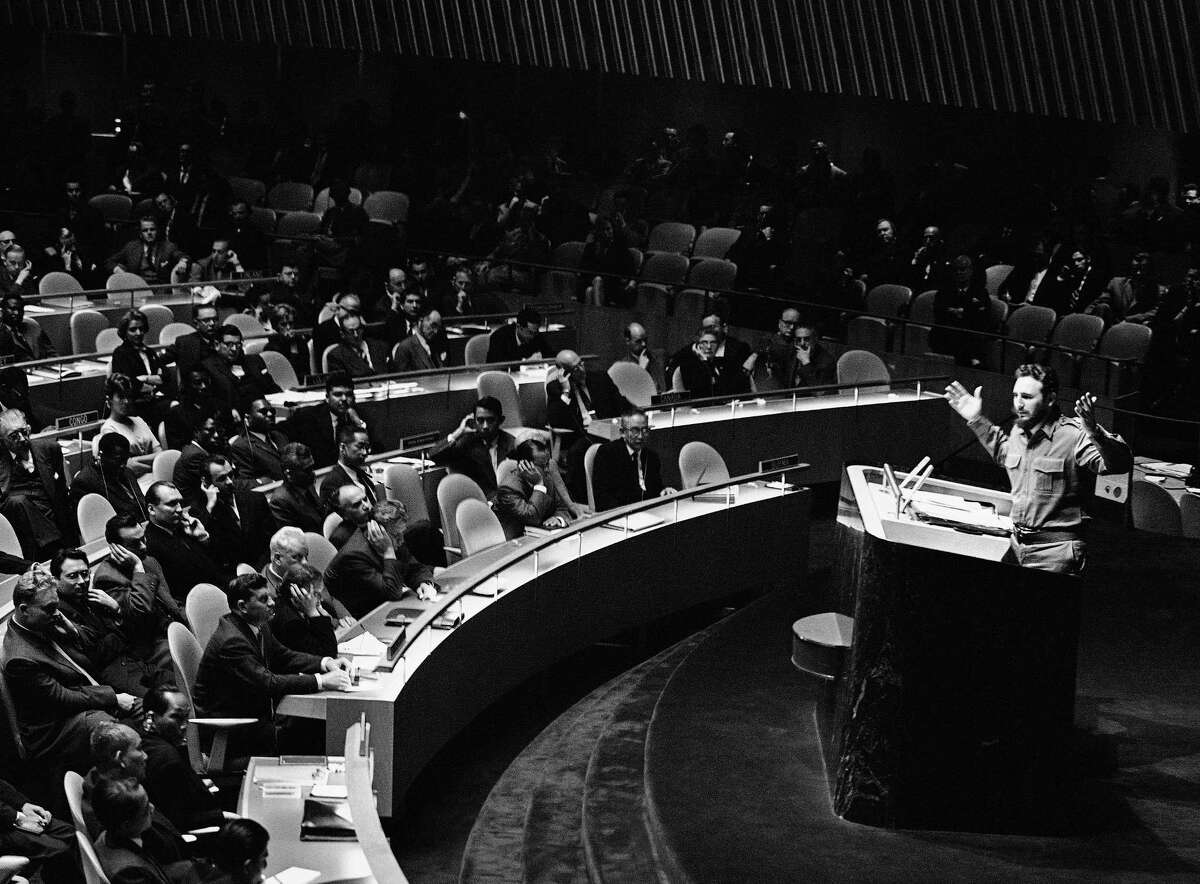 In this Sept. 26, 1960, file photo, clad in his trademark green military fatigues, Cuban leader Fidel Castro denounces the United States in the longest timed speech ever in the U.N. General Assembly. The most powerful people in the world will be in New York on Monday, Sept. 28, 2015, for the start of the U.N. General Assemblyís annual ministerial meeting. This yearís event marks the 70th anniversary of the United Nations, and a record number of world leaders, more than 150, are expected to address the many challenges facing the world today.