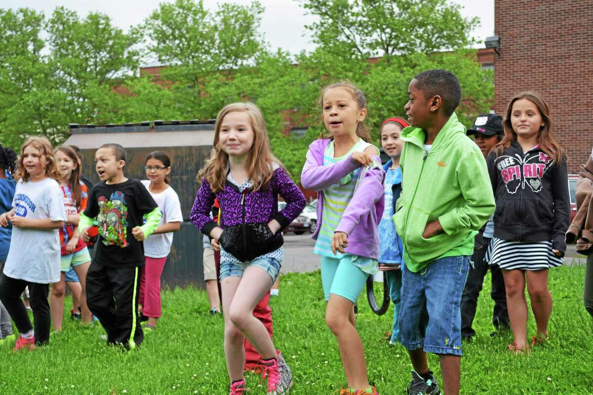 Kaitlyn Schroyer - The Middletown Press Macdonough School celebrated their breakfast tailgate Wednesday morning as part of the Fuel Up to Play 60 initative.