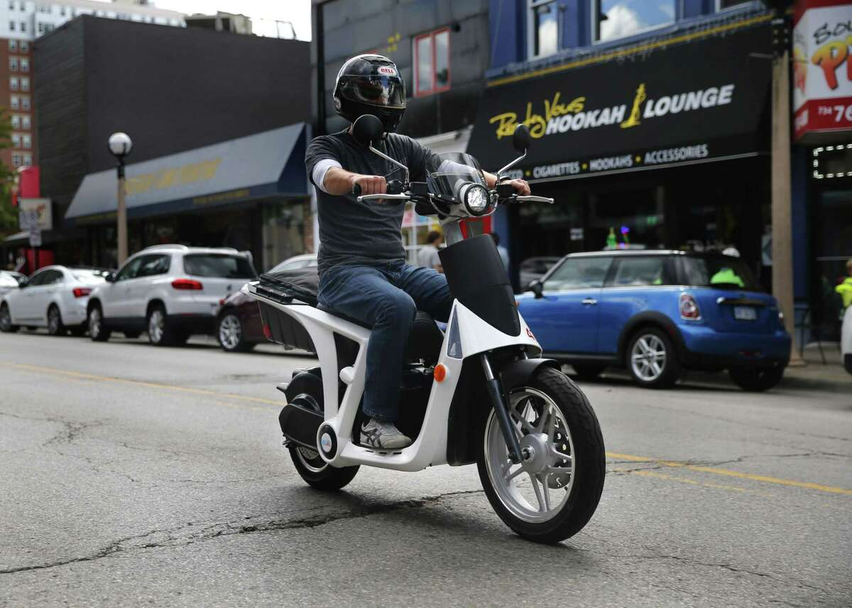 A Mahindra GenZe 2.0 pre-production prototype is riden in Ann Arbor, Mich.