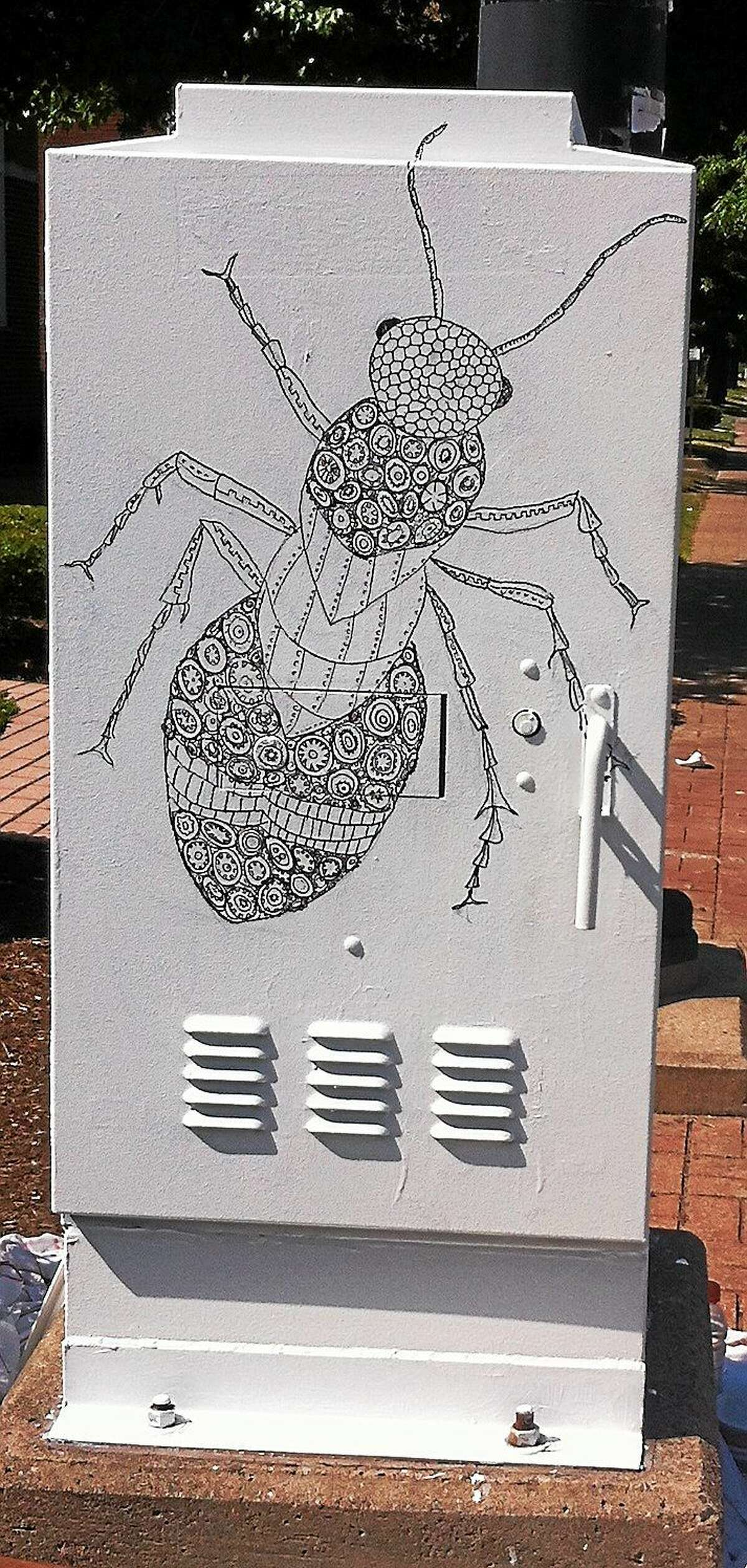 Katharine Owens was one of 16 artists to receive a grant from the City of Hartford as a part of the city's Outside the Box project designed to discourage graffiti by giving artists a platform to create their own street art on city utility boxes.