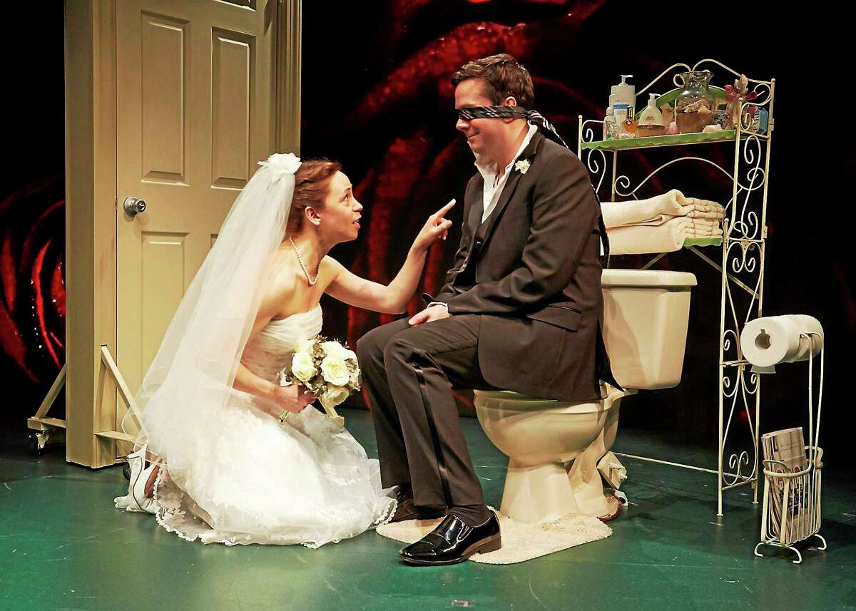 """Photos by Lanny Nagler Chris Thorn and Laura Woodward in Love/Sick"""" at TheaterWorks."""