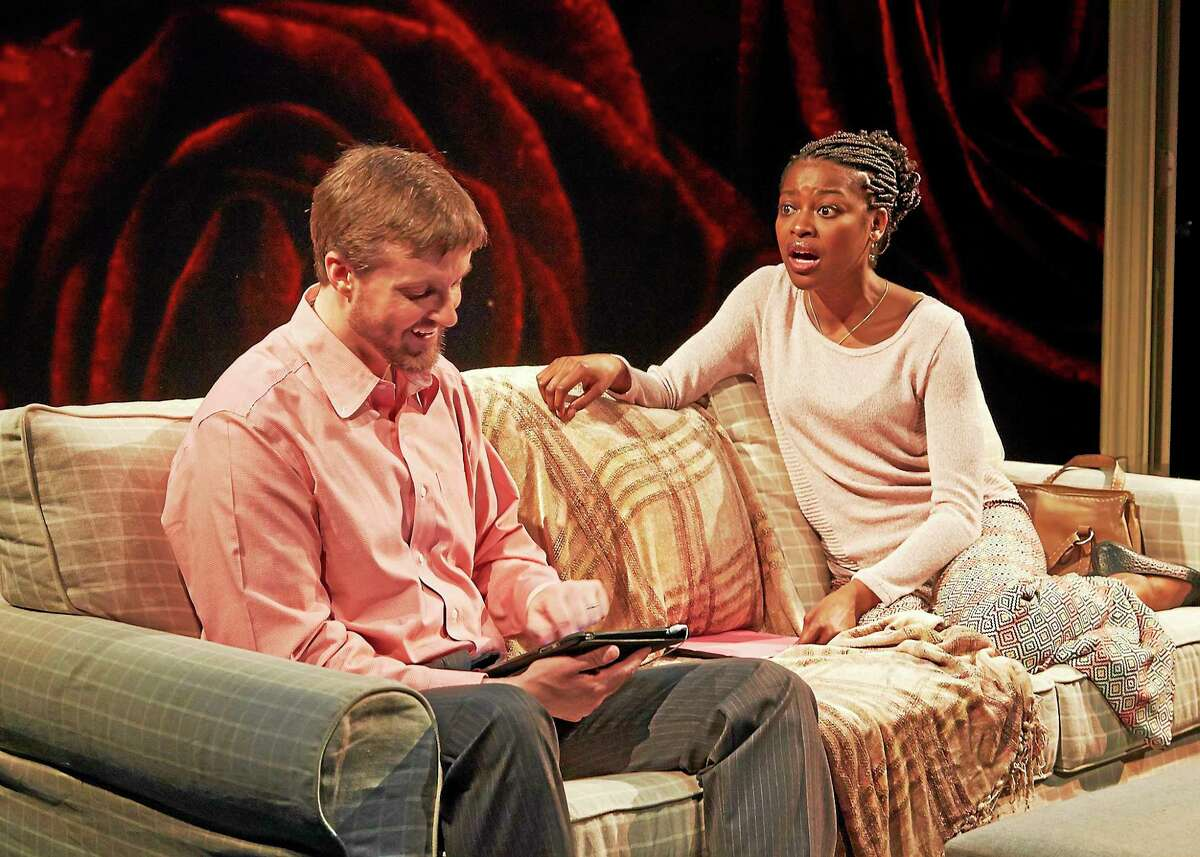Pascale Armand and Chris Thorn in Love/Sick at TheaterWorks.