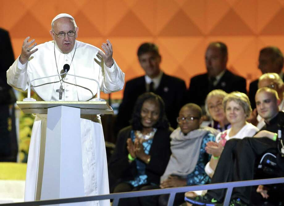 Pope Francis speaks at the World Meeting of Families festival in Philadelphia on Saturday, Sept. 26, 2015. Photo: (AP Photo/Matt Rourke, Pool) / POOL, AP