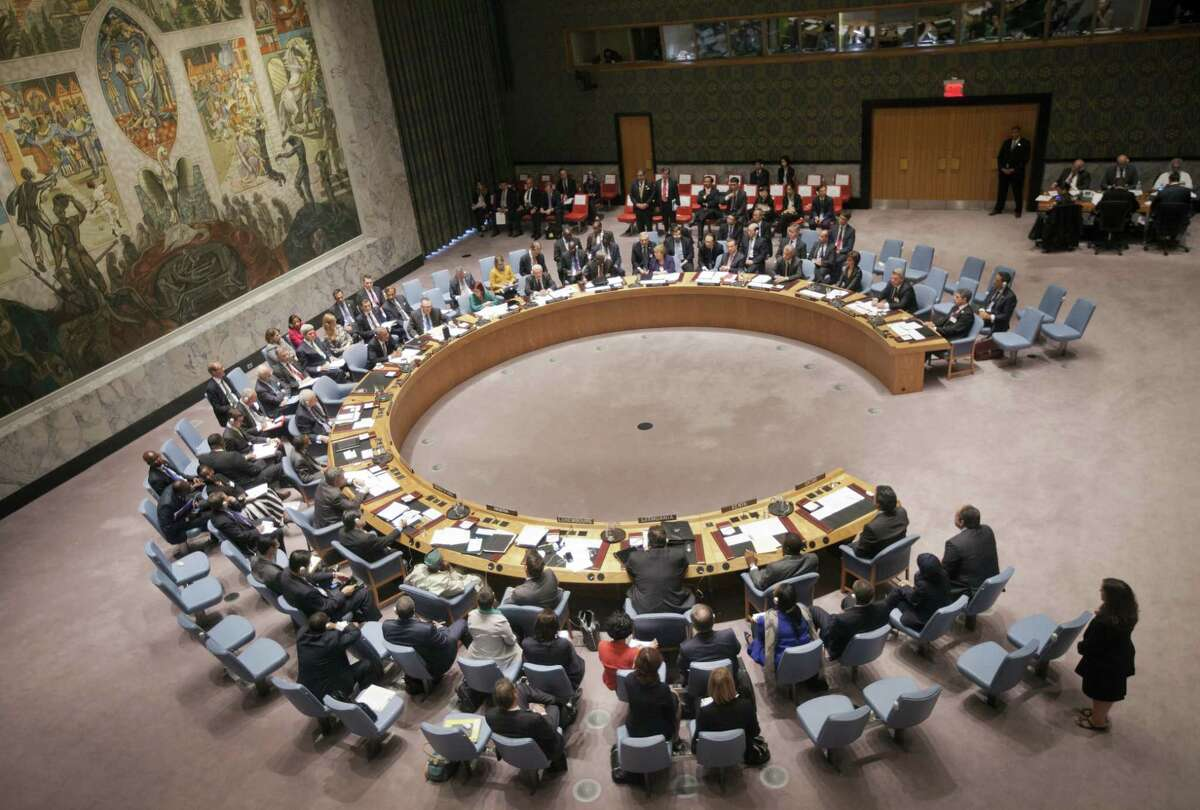 """U.S. President Barack Obama chairs a meeting of the United Nations Security Council at the United Nations headquarters on Sept. 24, 2014. Obama implored world leaders to rally behind his expanding military campaign to stamp out the violent Islamic State group and its """"network of death."""""""