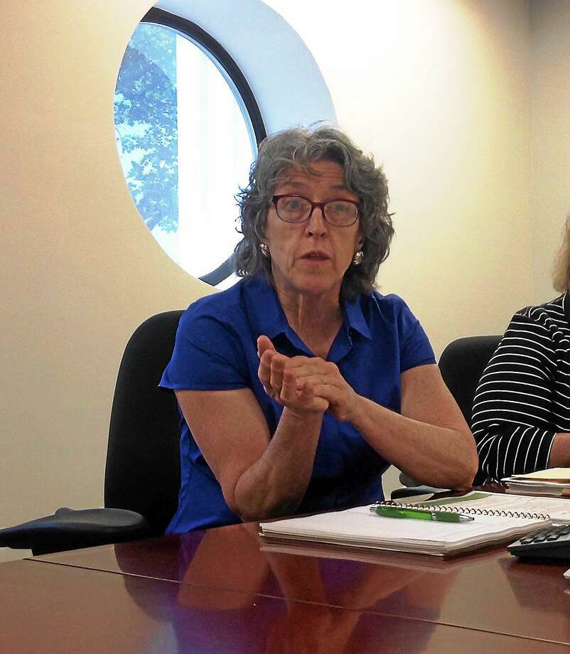 Jude Carroll of the Connecticut Housing Coalition makes a point during a meeting with the New Haven Register editorial board. Photo: Helen Bennett — New Haven Register