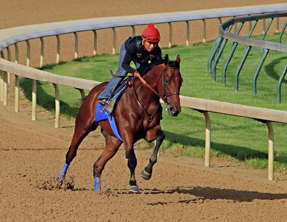 Ridden by jockey Martin Garcia, Kentucky Derby and Preakness Stakes winner American Pharoah works out Tuesday at Churchill Downs in Louisville, Ky. Photo: Garry Jones — The Associated Press  / FR50389 AP
