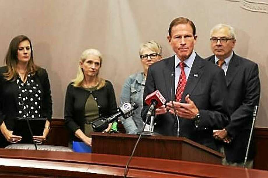 U.S. Sen. Richard Blumenthal and Planned Parenthood and NARAL officials at a press conference Friday morning. Photo: Christine Stuart Photo