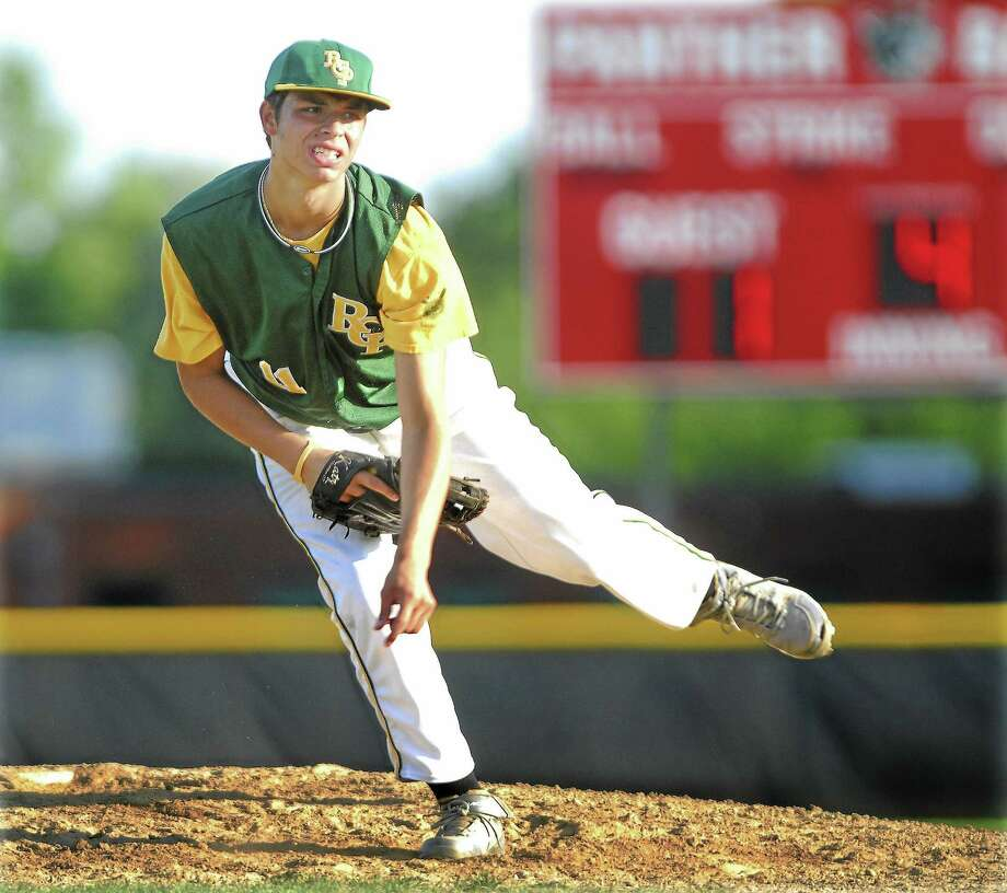 RCP Post 105 starting pitcher Logan Lessard on the mound against New Britain at the Fran Monnes Field in Cromwell during a Zone 7 American Legion game. (file photo) Photo: Catherine Avalone--The Middletown Press  / a