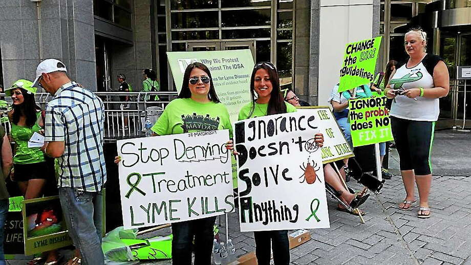 Submitted photo Sara Gamelli of Durham has had Lyme disease for two years. She joined activists recently in Virginia to protest a lack of adequate treatment for chronic symptoms. Photo: Journal Register Co.