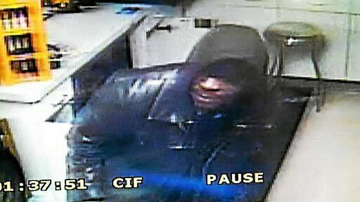 Police say two men robbed the Mobile gas station on Saybrook Road in Haddam on Sunday, making off with cigarettes. This photo shows the suspect in Sunoco station burglary on Route 81 in Higganum last year.