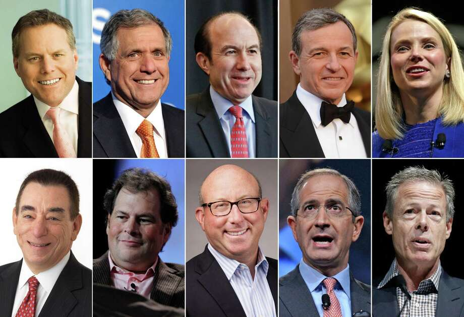 This photo shows the 10 highest-paid CEOs in 2014, according to a study carried out by executive compensation data firm Equilar and The Associated Press. Top row, from left: David Zaslav, Discovery Communications; Les Moonves, CBS; Philippe Dauman, Viacom;  Robert Iger, Walt Disney; and Marissa Mayer, Yahoo. Bottom row, from left: Leonard Schleifer, Regeneron Pharmaceuticals; Marc Benioff, Salesforce; Jeffrey Leiden, Vertex Pharmaceuticals; Brian Roberts, Comcast; and Jeffrey Bewkes, Time Warner. Photo: AP Photo  / AP/Discovery communications