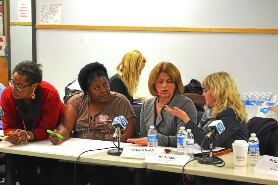 Alex Gecan - The Middletown Press ¬ Teachers and administrators chat about what has worked and what hasn't during Common Core rollout at a task force meeting in Middletown Tuesday. Photo: Journal Register Co.