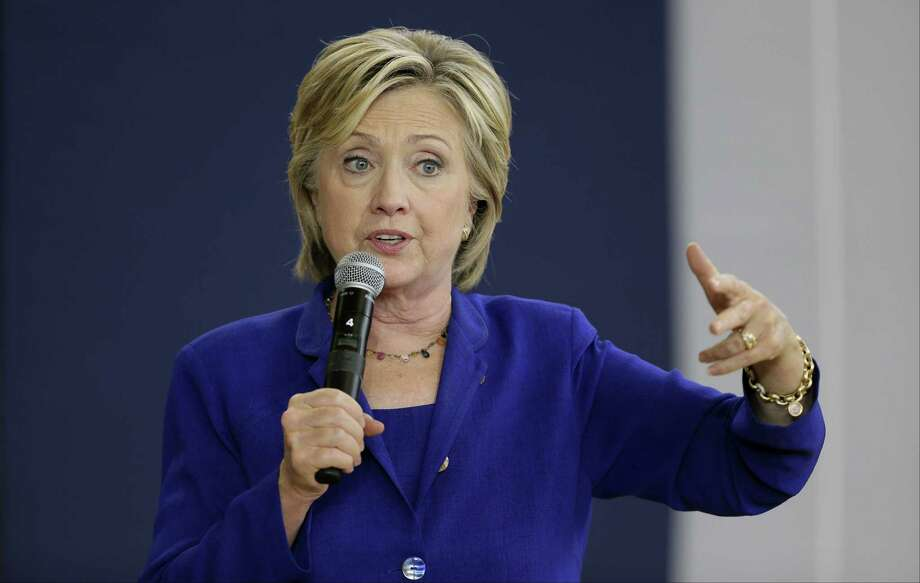 Democratic presidential candidate Hillary Rodham Clinton speaks during a community forum on health care on Sept. 22 at Moulton Elementary School in Des Moines, Iowa. Photo: AP Photo  / AP
